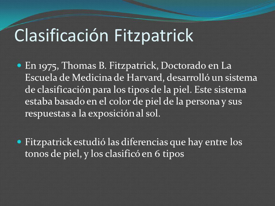 Clasificación Fitzpatrick En 1975, Thomas B. Fitzpatrick, Doctorado en La Escuela de Medicina de Harvard, desarrolló un sistema de clasificación para