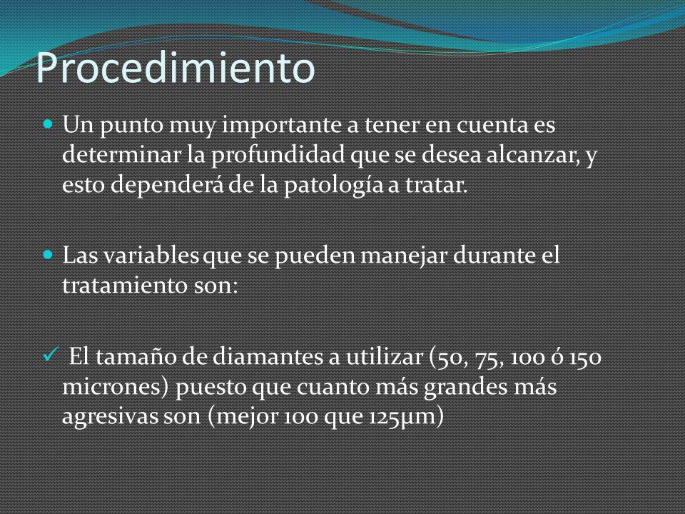 Procedimiento Un punto muy importante a tener en cuenta es determinar la profundidad que se desea alcanzar, y esto dependerá de la patología a tratar.