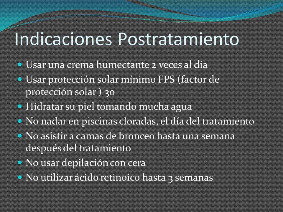 Indicaciones Postratamiento Usar una crema humectante 2 veces al día Usar protección solar mínimo FPS (factor de protección solar ) 30 Hidratar su pie