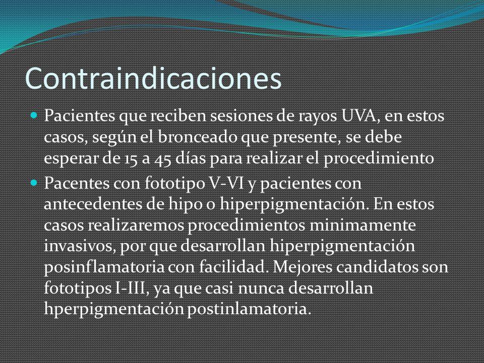 Contraindicaciones Pacientes que reciben sesiones de rayos UVA, en estos casos, según el bronceado que presente, se debe esperar de 15 a 45 días para