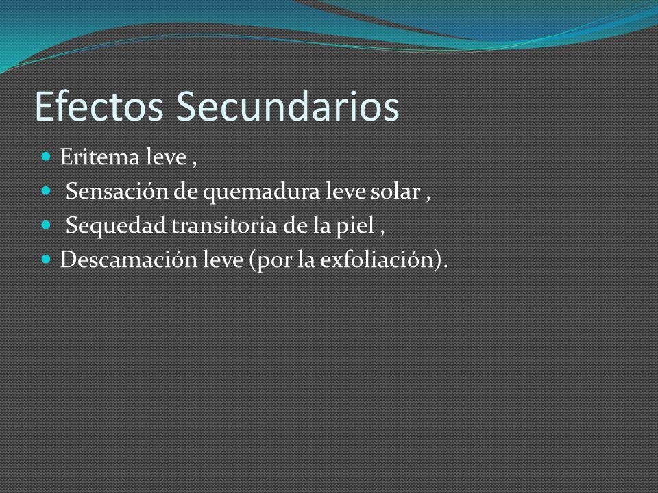 Efectos Secundarios Eritema leve, Sensación de quemadura leve solar, Sequedad transitoria de la piel, Descamación leve (por la exfoliación).