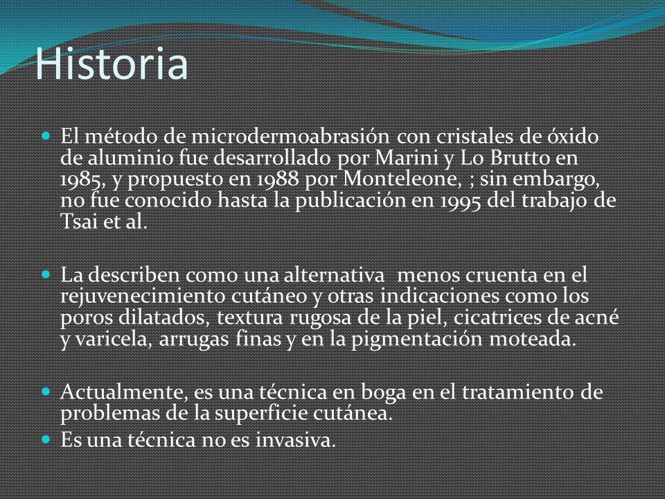 Historia El método de microdermoabrasión con cristales de óxido de aluminio fue desarrollado por Marini y Lo Brutto en 1985, y propuesto en 1988 por M