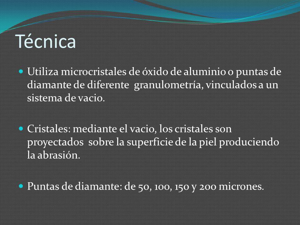 Técnica Utiliza microcristales de óxido de aluminio o puntas de diamante de diferente granulometría, vinculados a un sistema de vacio. Cristales: medi