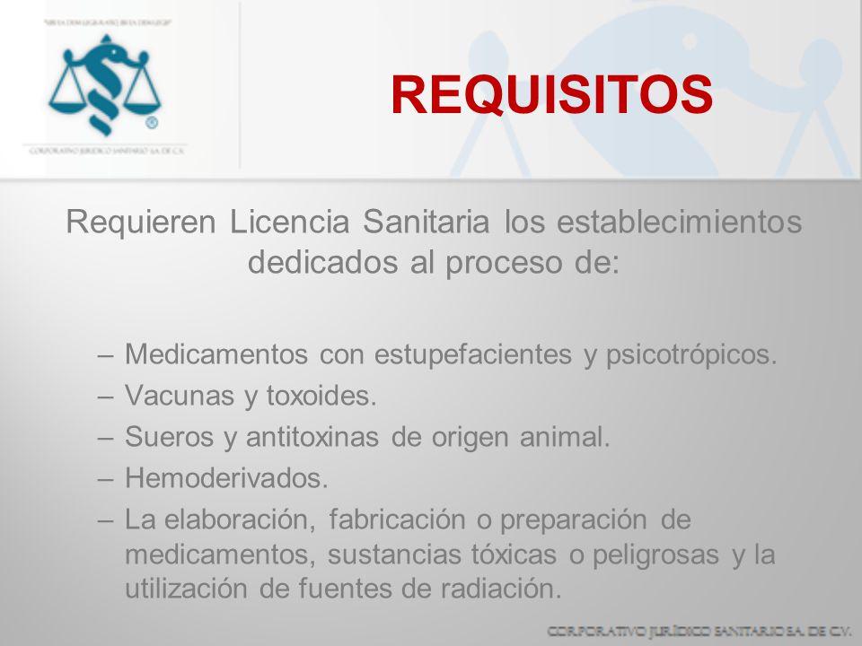 REQUISITOS Requieren Licencia Sanitaria los establecimientos dedicados al proceso de: –Medicamentos con estupefacientes y psicotrópicos. –Vacunas y to