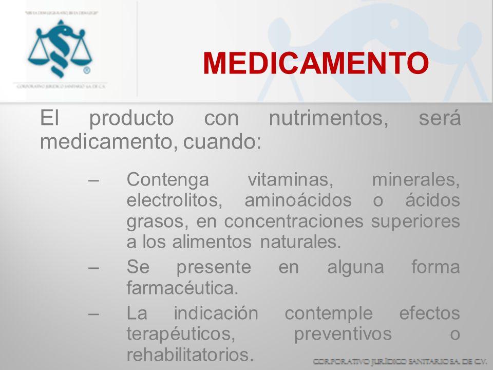MEDICAMENTO El producto con nutrimentos, será medicamento, cuando: –Contenga vitaminas, minerales, electrolitos, aminoácidos o ácidos grasos, en conce