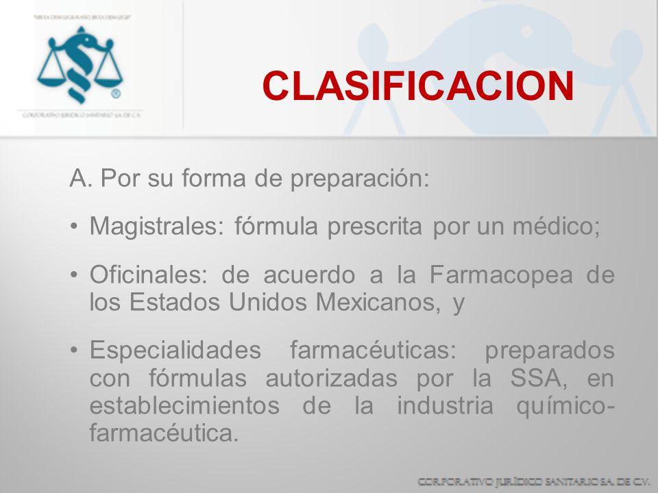CLASIFICACION A. Por su forma de preparación: Magistrales: fórmula prescrita por un médico; Oficinales: de acuerdo a la Farmacopea de los Estados Unid