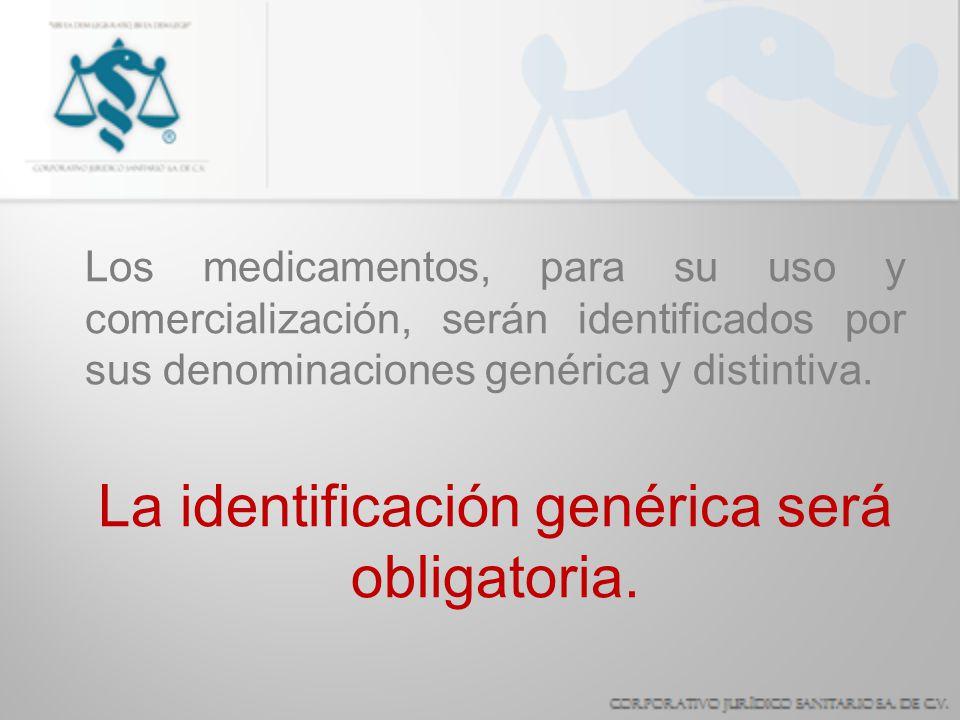Los medicamentos, para su uso y comercialización, serán identificados por sus denominaciones genérica y distintiva. La identificación genérica será ob