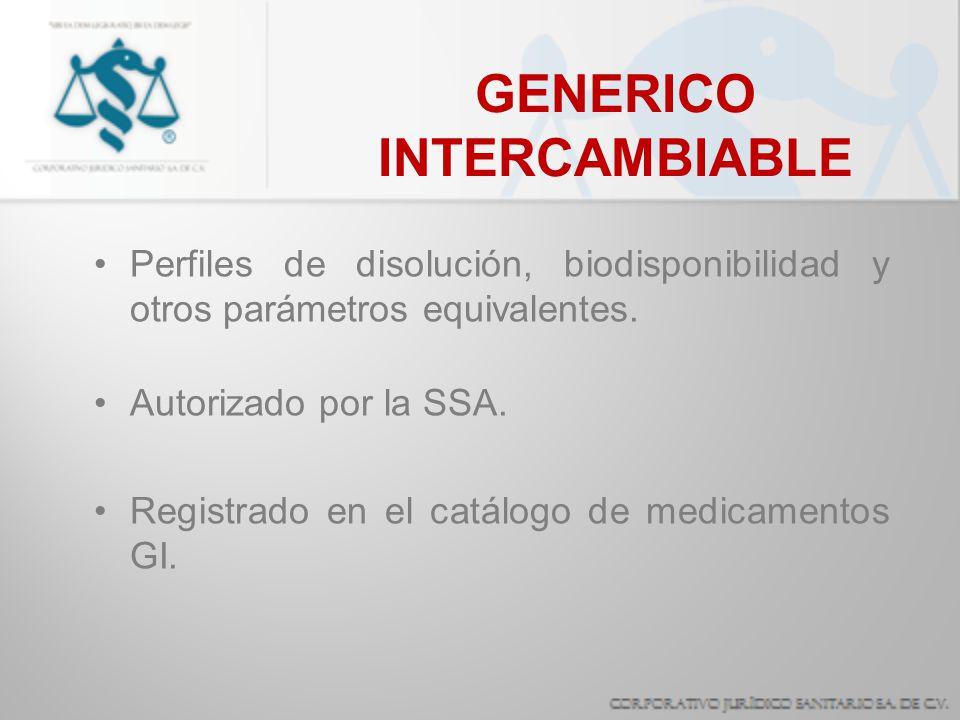 GENERICO INTERCAMBIABLE Perfiles de disolución, biodisponibilidad y otros parámetros equivalentes. Autorizado por la SSA. Registrado en el catálogo de