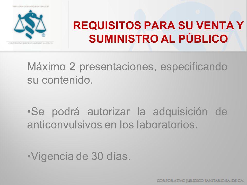 Máximo 2 presentaciones, especificando su contenido. Se podrá autorizar la adquisición de anticonvulsivos en los laboratorios. Vigencia de 30 días. RE