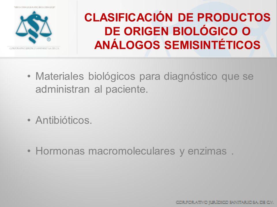 CLASIFICACIÓN DE PRODUCTOS DE ORIGEN BIOLÓGICO O ANÁLOGOS SEMISINTÉTICOS Materiales biológicos para diagnóstico que se administran al paciente. Antibi