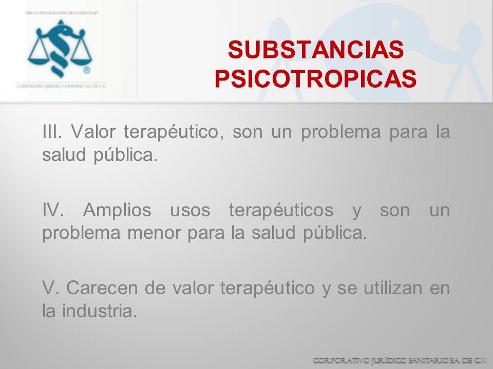 SUBSTANCIAS PSICOTROPICAS III. Valor terapéutico, son un problema para la salud pública. IV. Amplios usos terapéuticos y son un problema menor para la