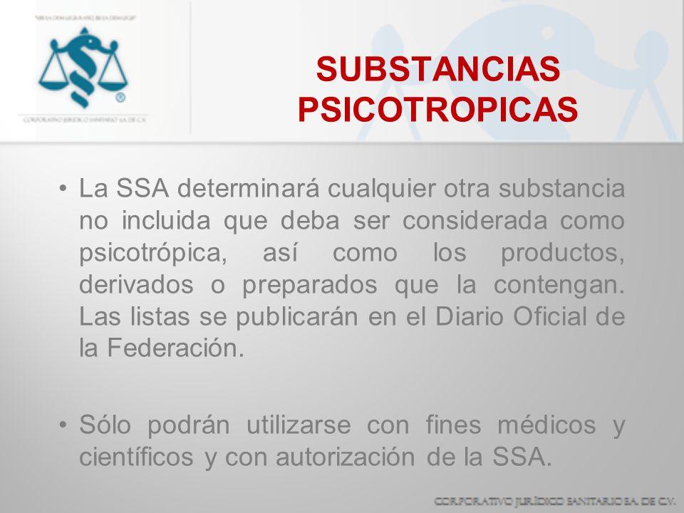 SUBSTANCIAS PSICOTROPICAS La SSA determinará cualquier otra substancia no incluida que deba ser considerada como psicotrópica, así como los productos,