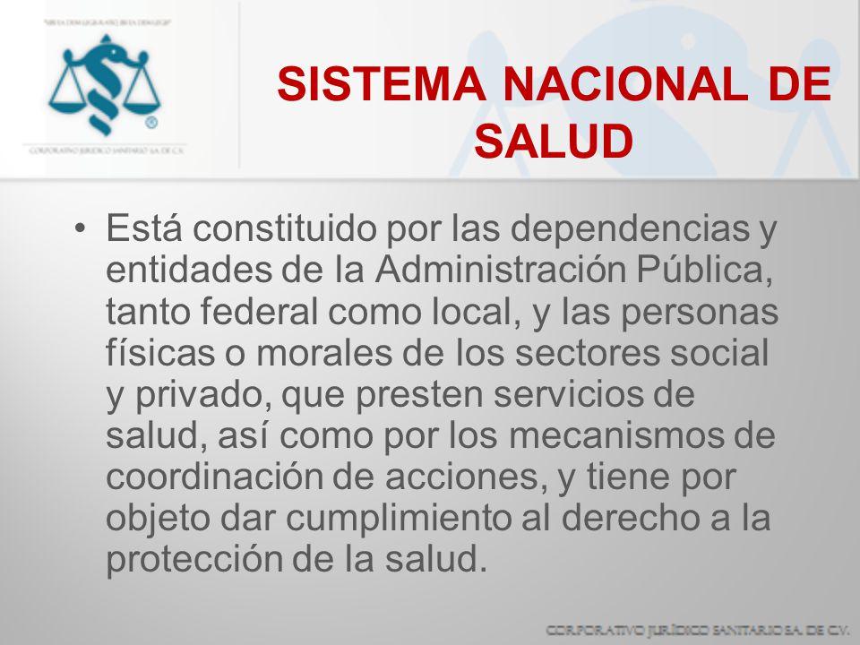 SISTEMA NACIONAL DE SALUD Está constituido por las dependencias y entidades de la Administración Pública, tanto federal como local, y las personas fís