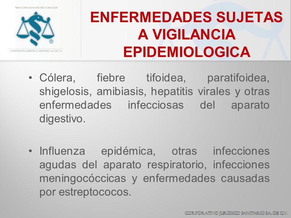 ENFERMEDADES SUJETAS A VIGILANCIA EPIDEMIOLOGICA Cólera, fiebre tifoidea, paratifoidea, shigelosis, amibiasis, hepatitis virales y otras enfermedades