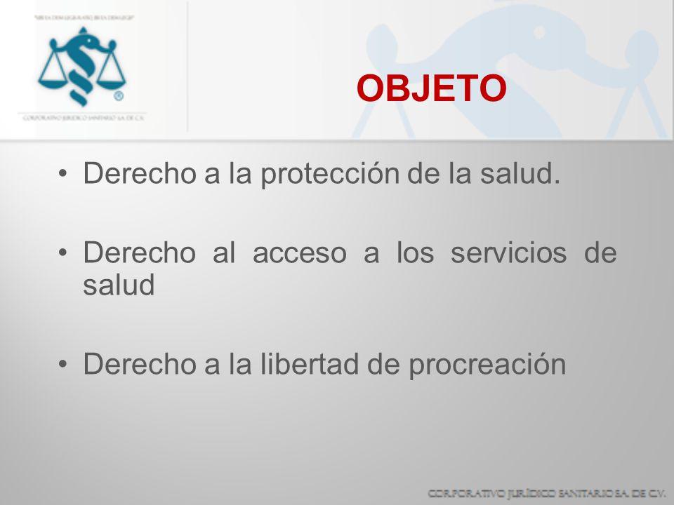 OBJETO Derecho a la protección de la salud. Derecho al acceso a los servicios de salud Derecho a la libertad de procreación