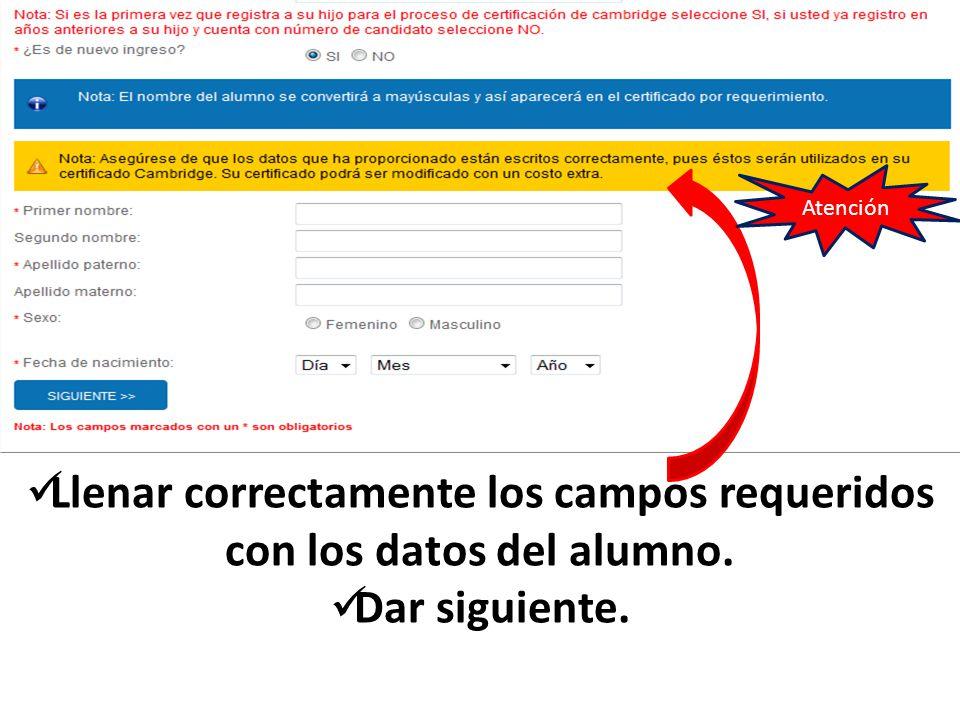 1 En el paso dos se tendrán que confirmar los datos del alumno.