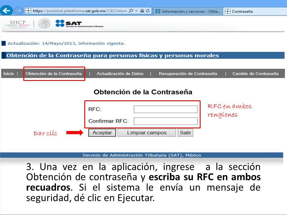 RFC en ambos renglones Dar clic
