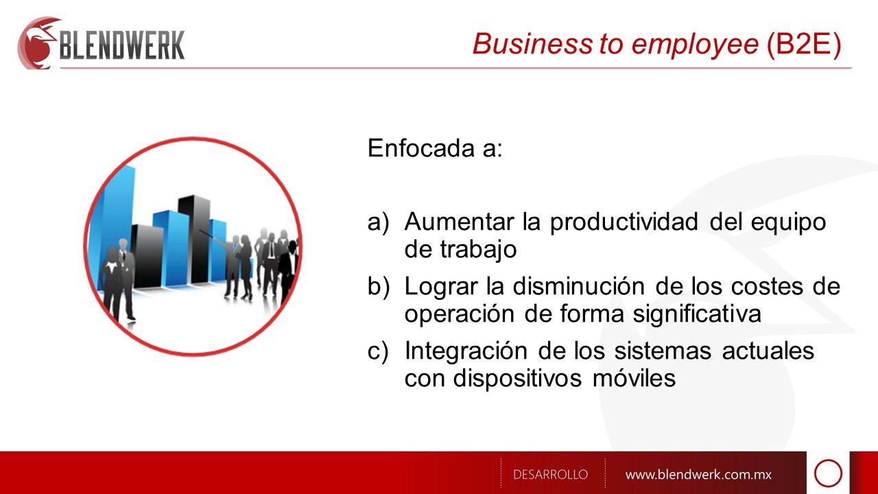 Business to employee (B2E) Enfocada a: a)Aumentar la productividad del equipo de trabajo b)Lograr la disminución de los costes de operación de forma significativa c)Integración de los sistemas actuales con dispositivos móviles