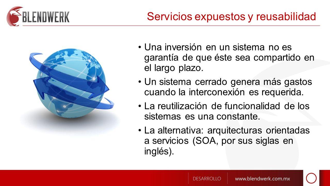 Servicios expuestos y reusabilidad Una inversión en un sistema no es garantía de que éste sea compartido en el largo plazo.