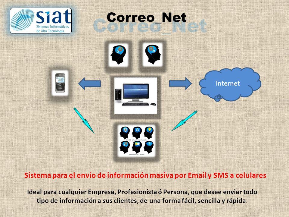 Correo_Net Sistema para el envío de información masiva por Email y SMS a celulares Ideal para cualquier Empresa, Profesionista ó Persona, que desee enviar todo tipo de información a sus clientes, de una forma fácil, sencilla y rápida.