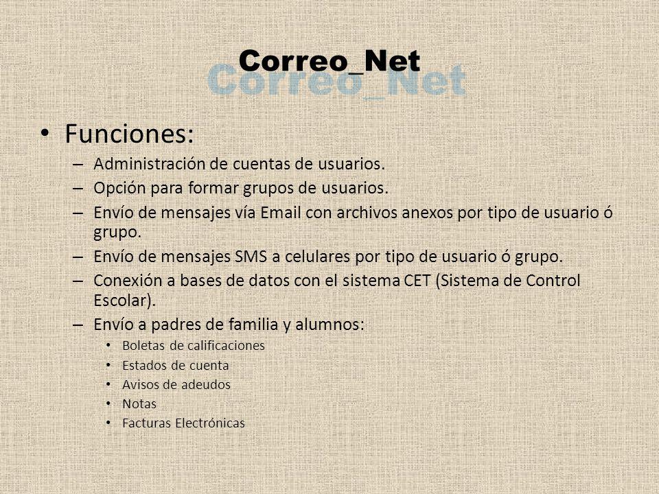 Funciones: – Administración de cuentas de usuarios.