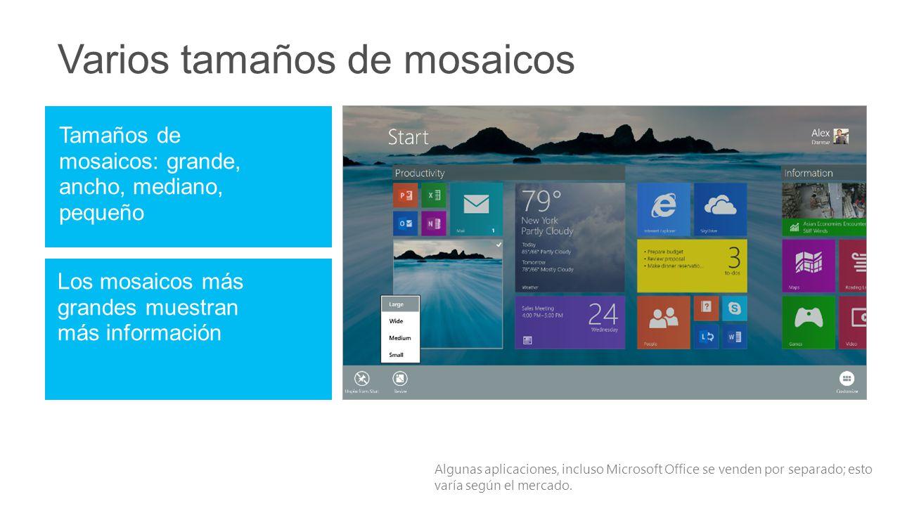Algunas aplicaciones, incluso Microsoft Office se venden por separado; esto varía según el mercado.