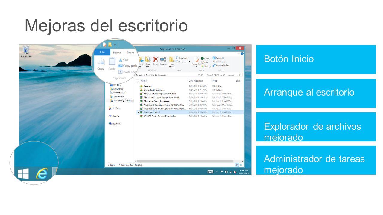 Botón Inicio Mejoras del escritorio Arranque al escritorio Explorador de archivos mejorado Administrador de tareas mejorado
