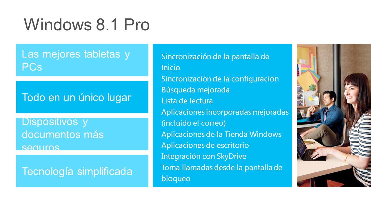 Windows 8.1 Pro Dispositivos y documentos más seguros Tecnología simplificada Las mejores tabletas y PCs Todo en un único lugar Sincronización de la pantalla de Inicio Sincronización de la configuración Búsqueda mejorada Lista de lectura Aplicaciones incorporadas mejoradas (incluido el correo) Aplicaciones de la Tienda Windows Aplicaciones de escritorio Integración con SkyDrive Toma llamadas desde la pantalla de bloqueo