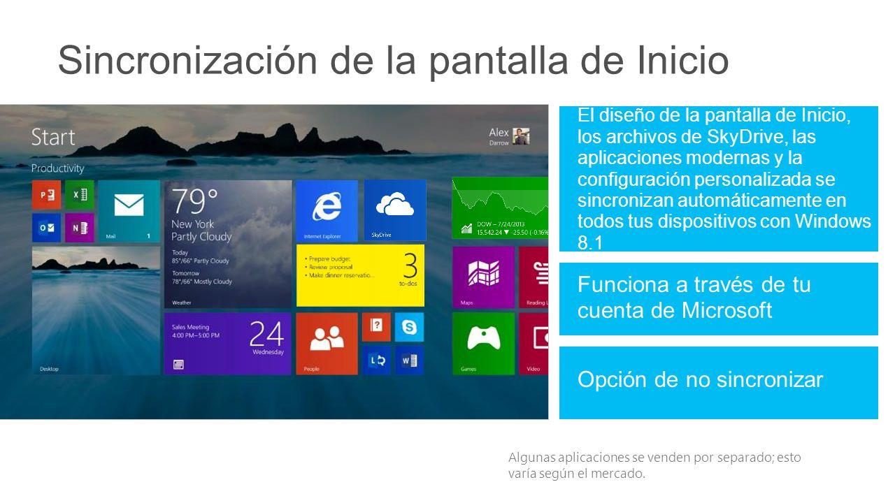 Sincronización de la pantalla de Inicio El diseño de la pantalla de Inicio, los archivos de SkyDrive, las aplicaciones modernas y la configuración personalizada se sincronizan automáticamente en todos tus dispositivos con Windows 8.1 Algunas aplicaciones se venden por separado; esto varía según el mercado.