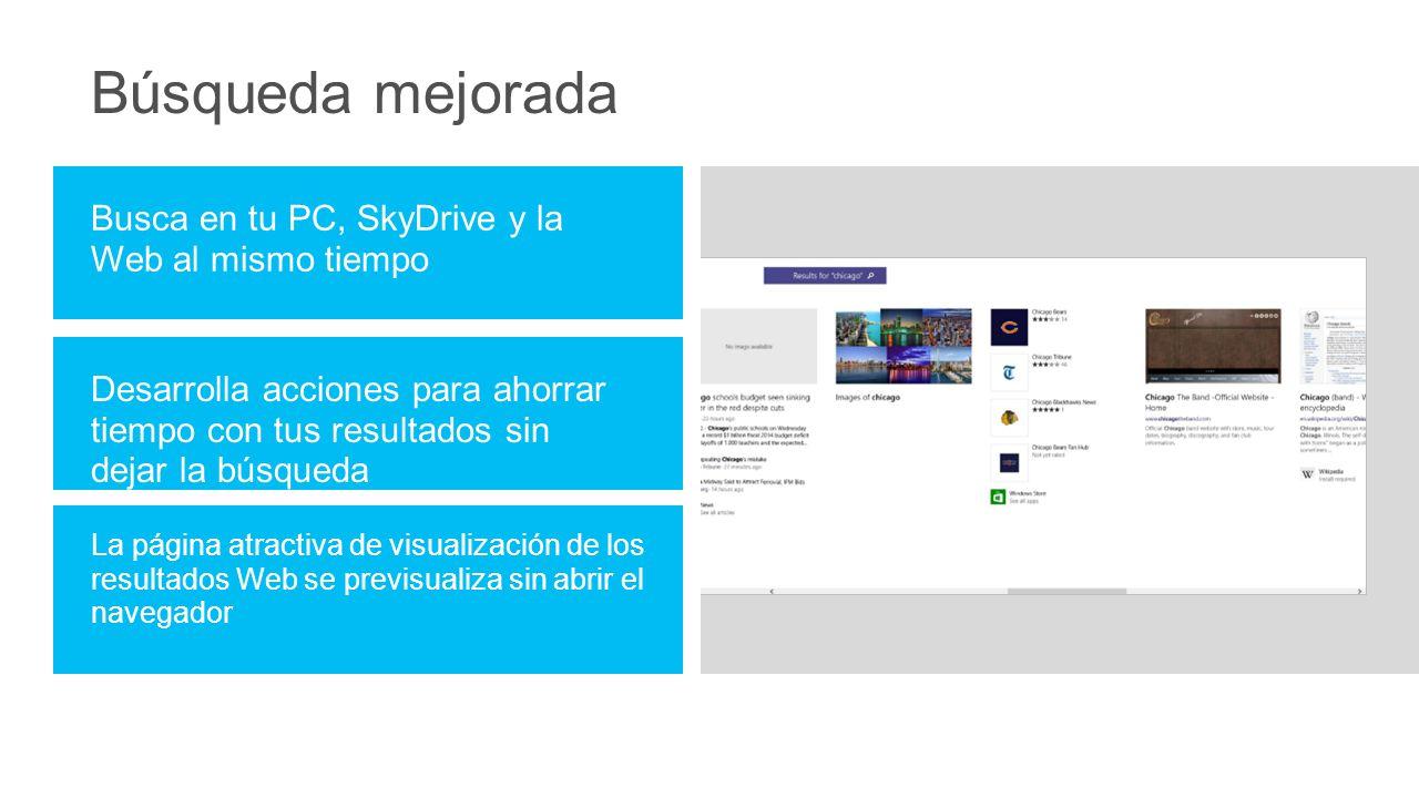 Búsqueda mejorada Busca en tu PC, SkyDrive y la Web al mismo tiempo Desarrolla acciones para ahorrar tiempo con tus resultados sin dejar la búsqueda La página atractiva de visualización de los resultados Web se previsualiza sin abrir el navegador