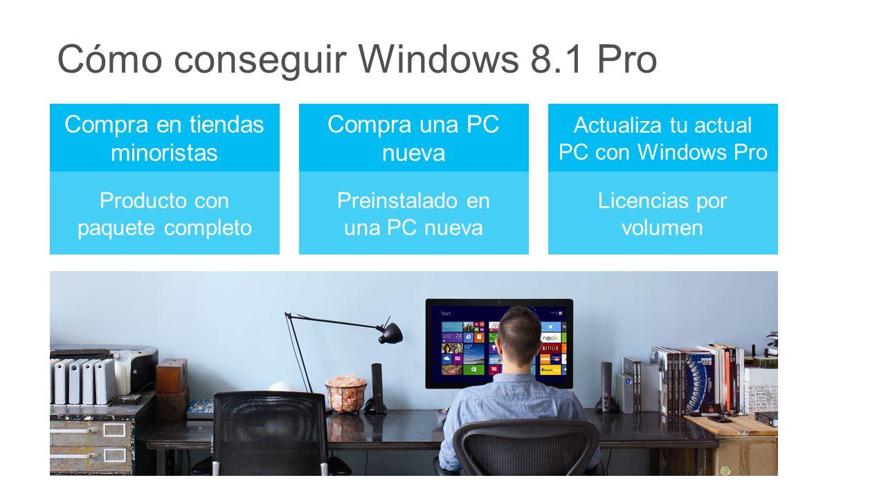 Cómo conseguir Windows 8.1 Pro Compra en tiendas minoristas Compra una PC nueva Actualiza tu actual PC con Windows Pro Producto con paquete completo Preinstalado en una PC nueva Licencias por volumen