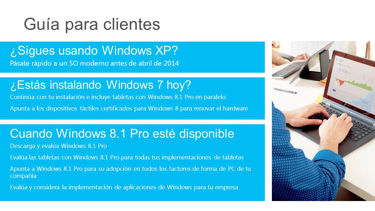 Guía para clientes Cuando Windows 8.1 Pro esté disponible Descarga y evalúa Windows 8.1 Pro Evalúa las tabletas con Windows 8.1 Pro para todas tus imp