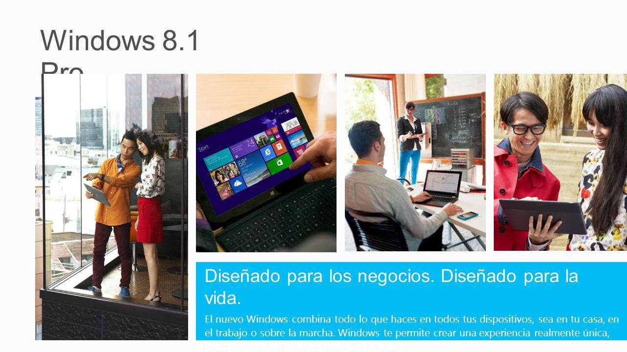 Desarrollar el valor de Windows 8 Pro Windows 8.1 Pro Continúa la visión de Windows 8 Mejora las tabletas y las PC táctiles aún más Responde al feedback de los clientes Ayuda a los usuarios de PC tradicionales a avanzar Introduce nuevas opciones de dispositivos Incluidos los dispositivos pequeños