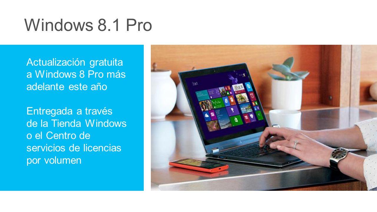 Windows 8.1 Pro Actualización gratuita a Windows 8 Pro más adelante este año Entregada a través de la Tienda Windows o el Centro de servicios de licencias por volumen