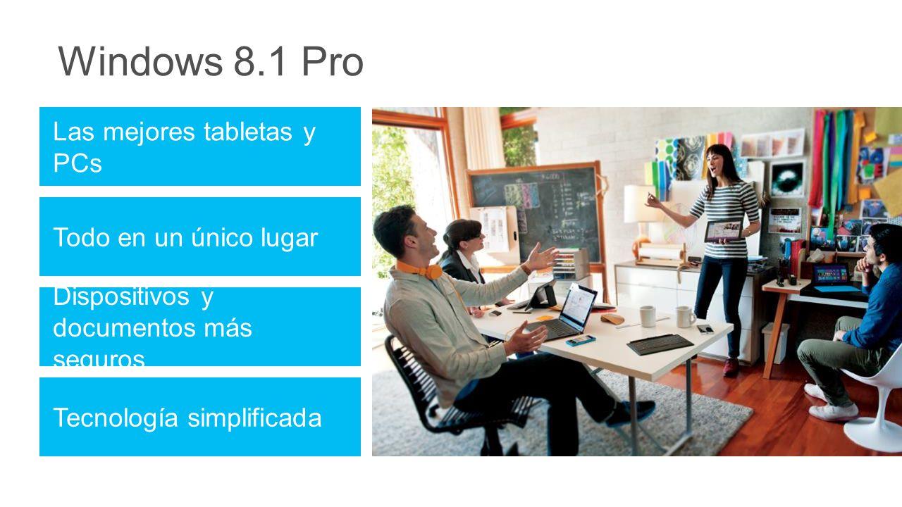 Windows 8.1 Pro Dispositivos y documentos más seguros Tecnología simplificada Las mejores tabletas y PCs Todo en un único lugar