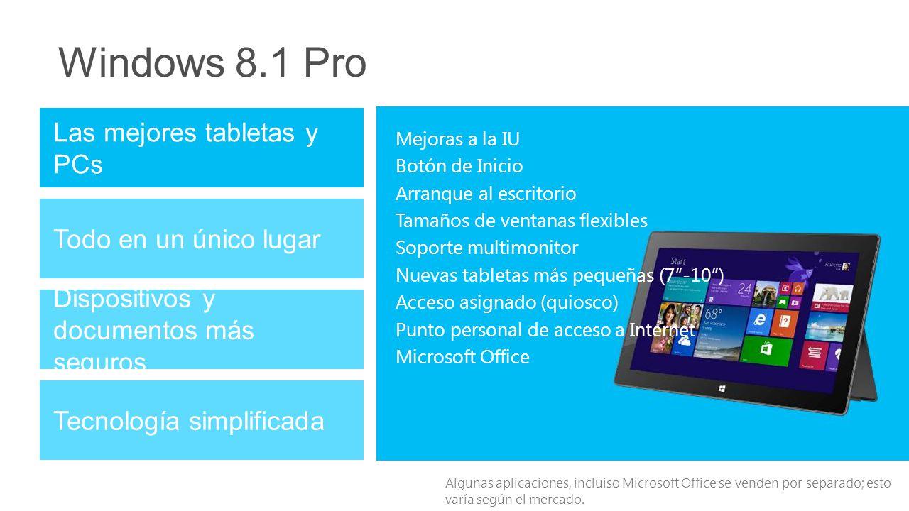 Windows 8.1 Pro Dispositivos y documentos más seguros Tecnología simplificada Las mejores tabletas y PCs Todo en un único lugar Mejoras a la IU Botón de Inicio Arranque al escritorio Tamaños de ventanas flexibles Soporte multimonitor Nuevas tabletas más pequeñas (7-10) Acceso asignado (quiosco) Punto personal de acceso a Internet Microsoft Office Algunas aplicaciones, incluiso Microsoft Office se venden por separado; esto varía según el mercado.