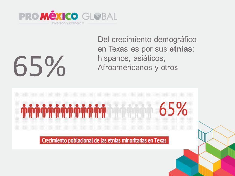 Del crecimiento demográfico en Texas es por sus etnias: hispanos, asiáticos, Afroamericanos y otros 65%