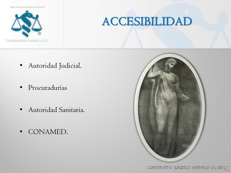 ACCESIBILIDAD Autoridad Judicial. Procuradurías Autoridad Sanitaria. CONAMED.