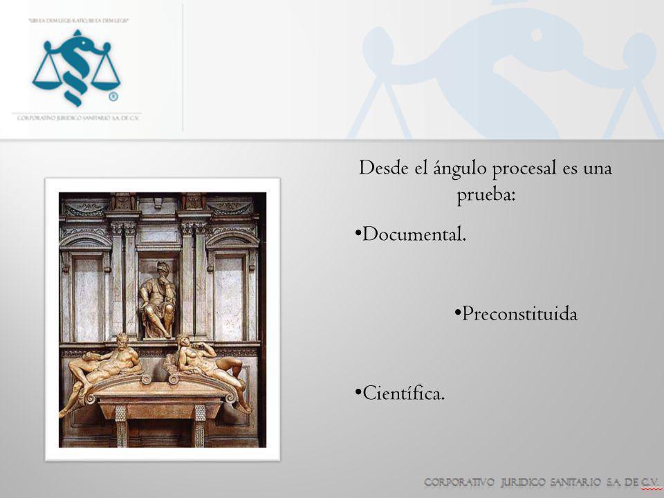 Desde el ángulo procesal es una prueba: Documental. Preconstituida Científica.