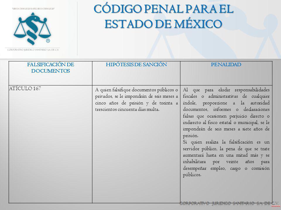 CÓDIGO PENAL PARA EL ESTADO DE MÉXICO FALSIFICACIÓN DE DOCUMENTOS HIPÓTESIS DE SANCIÓNPENALIDAD ATÍCULO 167 A quien falsifique documentos públicos o p