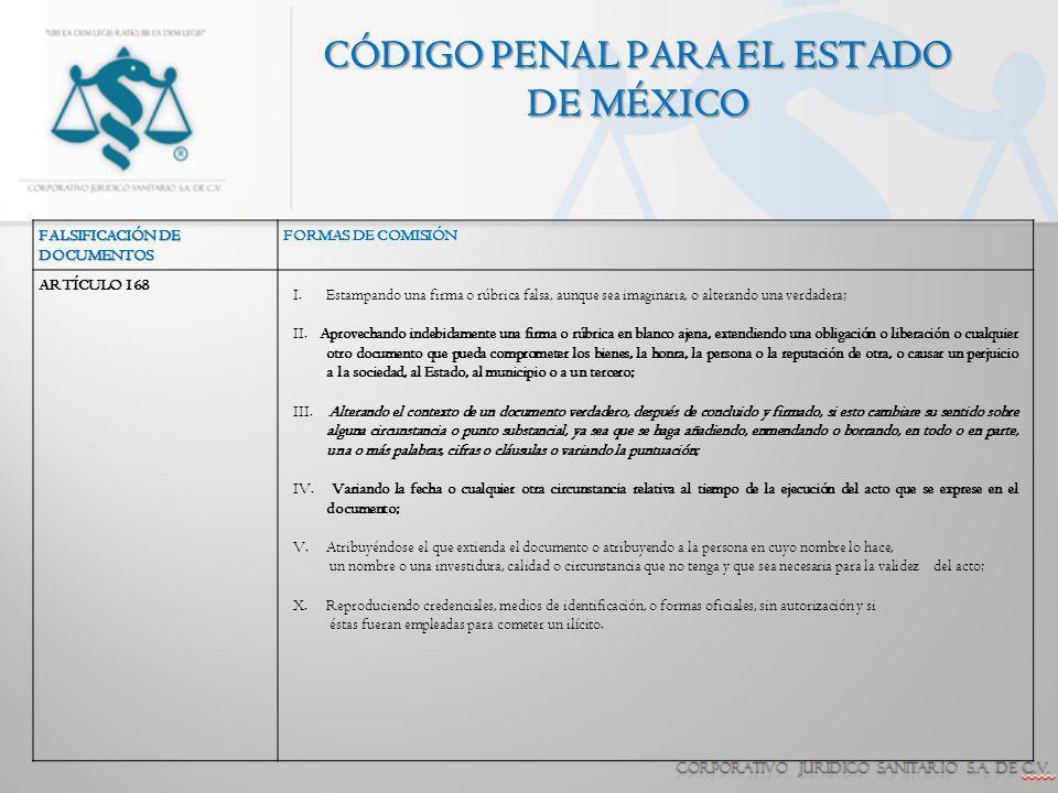 CÓDIGO PENAL PARA EL ESTADO DE MÉXICO FALSIFICACIÓN DE DOCUMENTOS FORMAS DE COMISIÓN ARTÍCULO 168 I.Estampando una firma o rúbrica falsa, aunque sea i