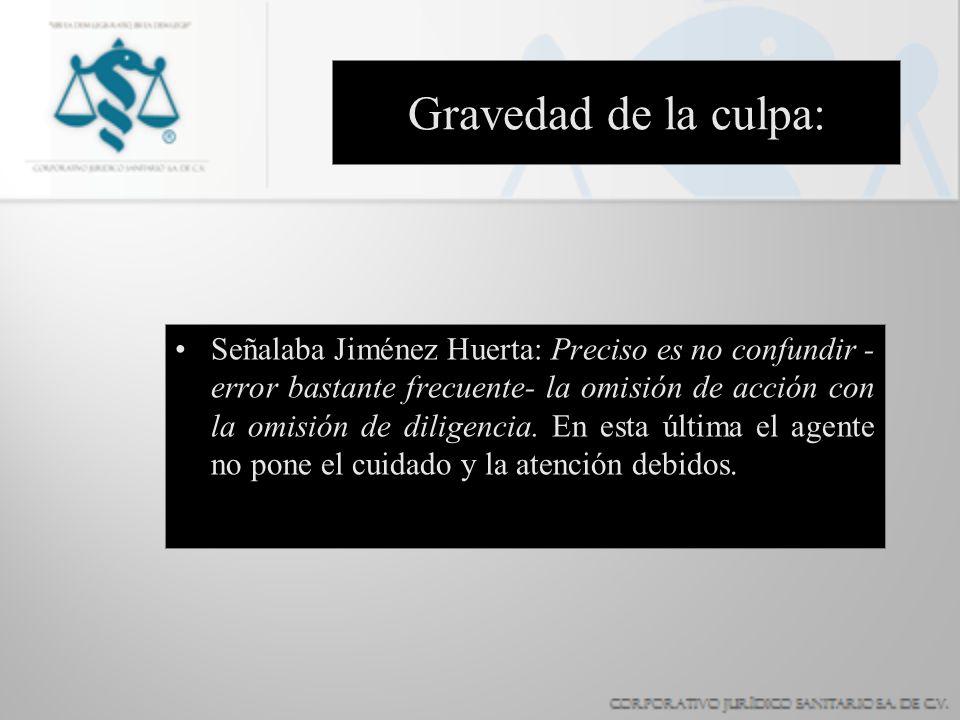 Gravedad de la culpa: Señalaba Jiménez Huerta: Preciso es no confundir - error bastante frecuente- la omisión de acción con la omisión de diligencia.