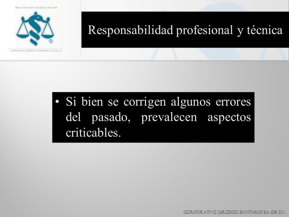 Responsabilidad profesional y técnica Si bien se corrigen algunos errores del pasado, prevalecen aspectos criticables.