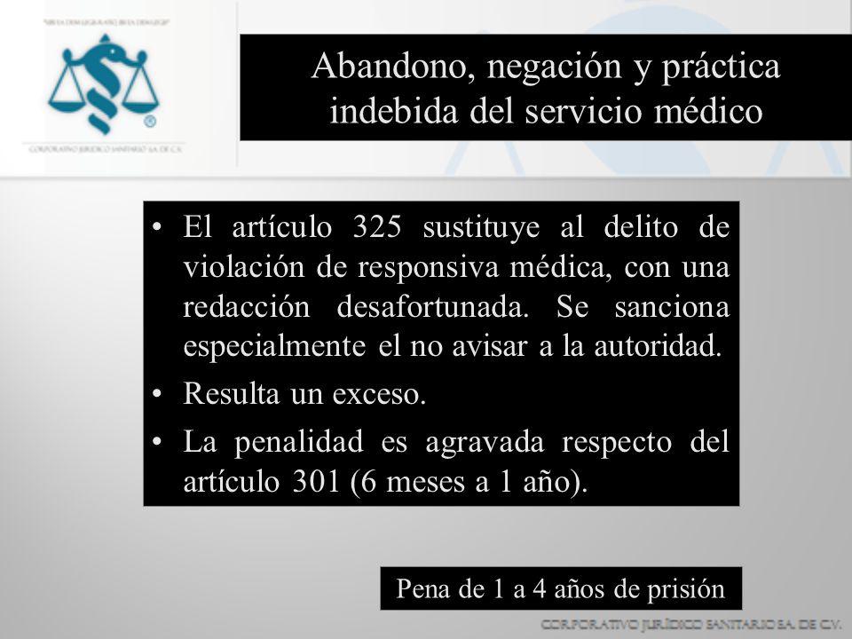 Abandono, negación y práctica indebida del servicio médico El artículo 325 sustituye al delito de violación de responsiva médica, con una redacción de