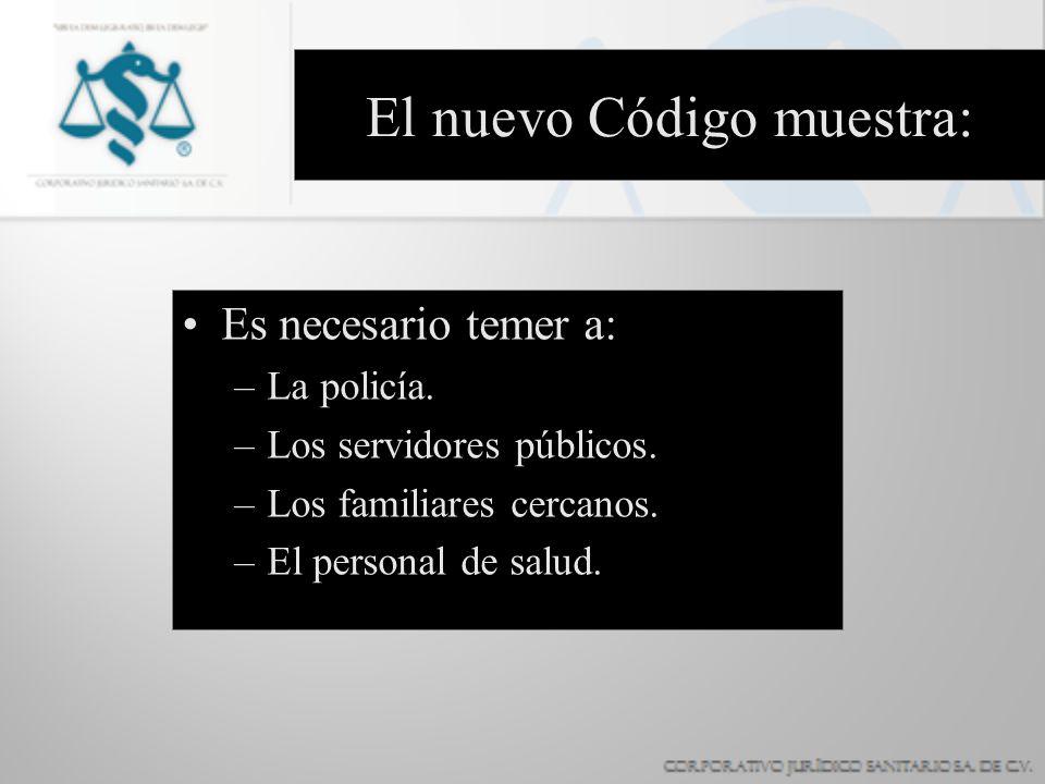El nuevo Código muestra: Es necesario temer a: –La policía. –Los servidores públicos. –Los familiares cercanos. –El personal de salud.