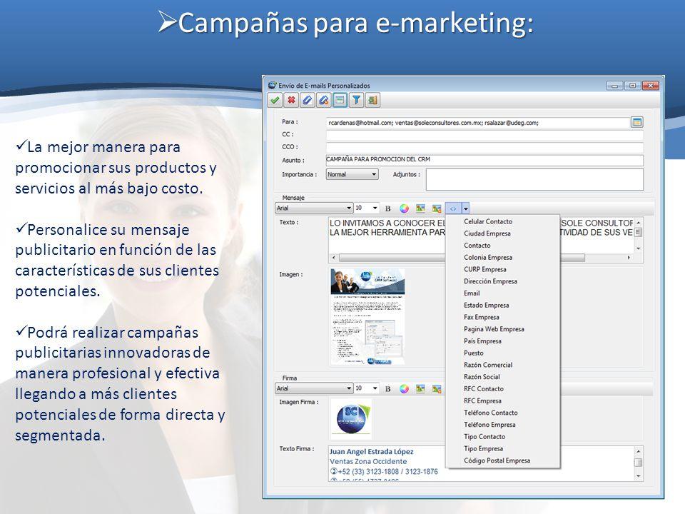 Campañas para e-marketing: Campañas para e-marketing: La mejor manera para promocionar sus productos y servicios al más bajo costo. Personalice su men