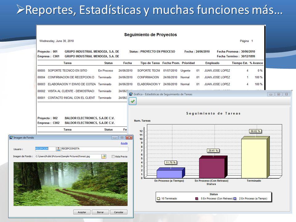 Reportes, Estadísticas y muchas funciones más… Reportes, Estadísticas y muchas funciones más…