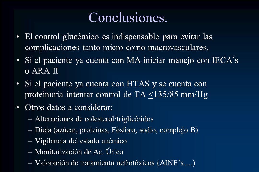 Conclusiones. El control glucémico es indispensable para evitar las complicaciones tanto micro como macrovasculares. Si el paciente ya cuenta con MA i
