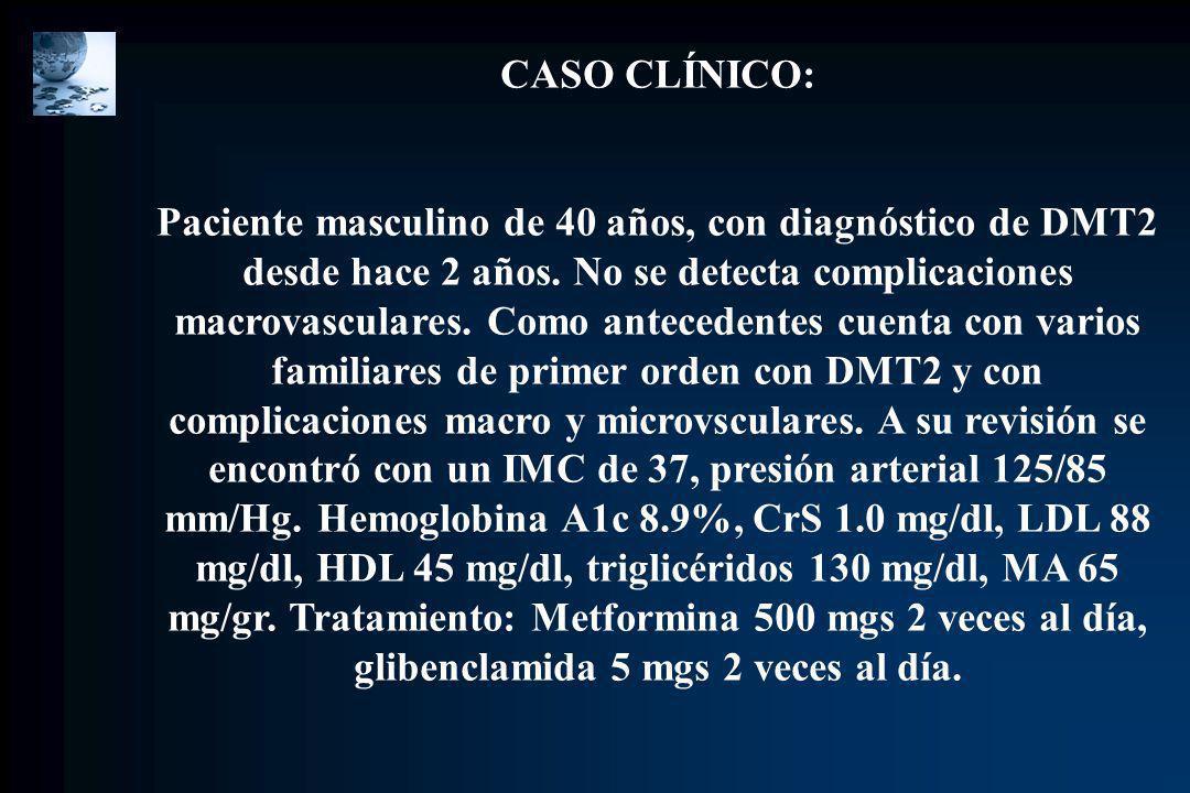 CASO CLÍNICO: Paciente masculino de 40 años, con diagnóstico de DMT2 desde hace 2 años. No se detecta complicaciones macrovasculares. Como antecedente
