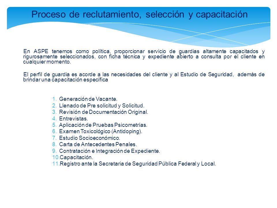 Proceso de reclutamiento, selección y capacitación En ASPE tenemos como política, proporcionar servicio de guardias altamente capacitados y rigurosame